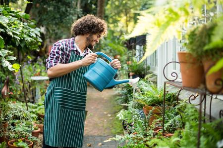 regar las plantas: jardinero regar las plantas felices de efecto invernadero fuera Foto de archivo