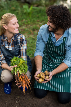 feld: Happy coworkers looking at each other while holding harvested vegetables on feld