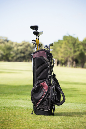 golf bag: Filled golf bag with golf club on the field Stock Photo