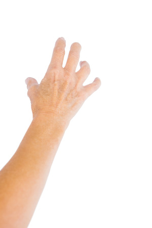 cropped out: Close-up of hand against white background Stock Photo