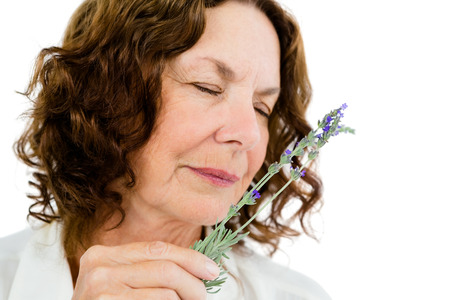 sensory perception: Close-up of mature woman smelling flowers against white background Stock Photo