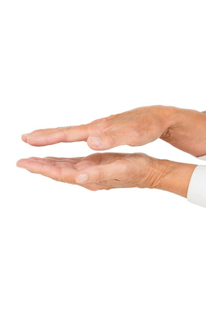 palmistry: Cropped image of person on white background