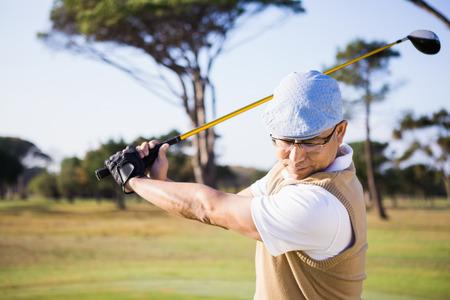 half length: Half length of sportsman playing golf on a field