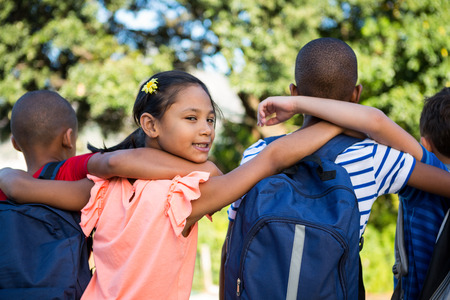 arms around: Rear view of classmates with arms around at school campus