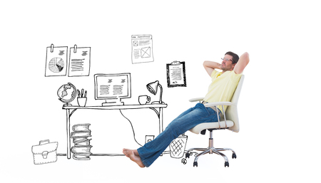 swivel chair: Man sitting on a swivel chair against doodle office with door Stock Photo