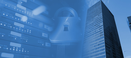 Lock on blue futuristic background against view of data technology