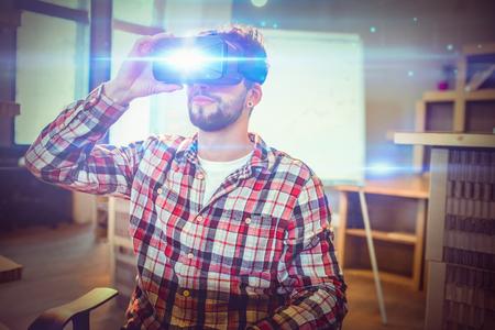 Man using virtual reality headset at office