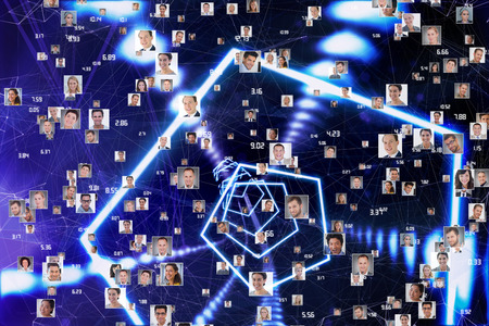glowing skin: Sphere of portraits and numbers against hexagon design with glowing light