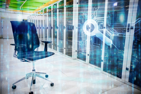 swivel chair: Digitally generated black and blue matrix against swivel chair in front of data center Stock Photo