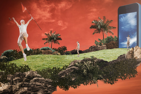 woman golf: Woman playing golf against red background