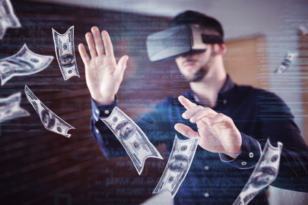 flying man: Dollars flying against man wearing virtual glass