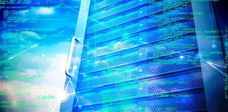programme: Blue programme against composite image of server tower