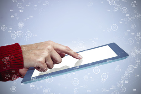 woman tablet: Mid section of a hipster woman using her tablet against sphere of icons Stock Photo