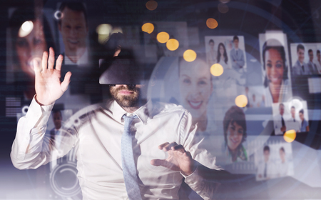 overworking: Interface with business profiles against businessman using virtual reality device