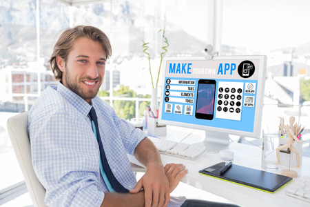 artists mannequin: Make your own app smartphone against white background with vignette