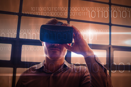 Blue technology design with binary code against businessman using virtual reality device Stock fotó