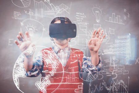 virtual technology: Technology icons against boy using a virtual reality device