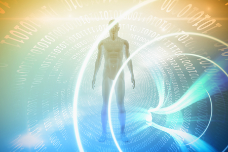 blue spiral: View of a blue character against blue spiral with bright light Stock Photo