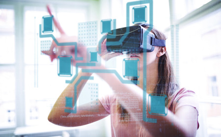 virtual technology: Technology interface  against woman using a virtual reality device