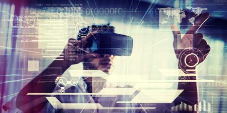 interface against businessman using an oculus Stock fotó