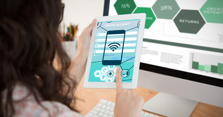 touchpad: Smartphone apps icons against a business woman is using a touchpad