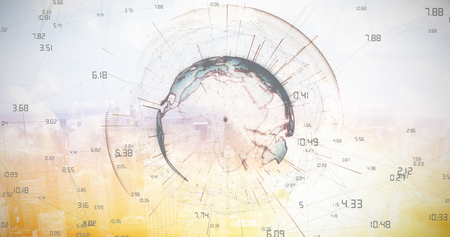 time zones: Image of earth with different times against sunset with clouds