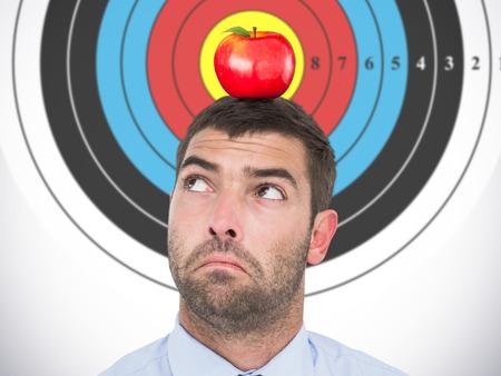 looking in corner: Businessman looking at the corner  against red apple