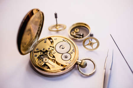 pocket watch: Old pocket watch machine with gears