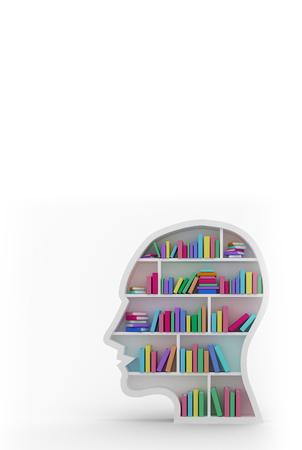 bookshelf digital: Colorful books arranged in human face shape bookshelves against white background with vignette