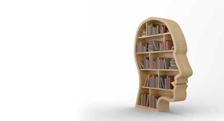Computer graphic image of books in human face shape bookshelves on white background