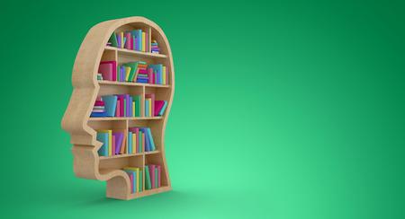 bookshelf digital: Colorful books in human face bookshelves against green vignette