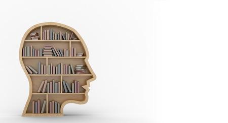 bookshelf digital: Composite image of books in human face shape bookshelves on white background