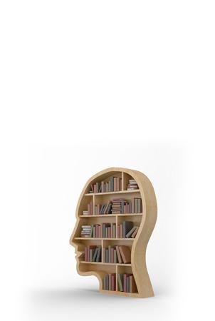 bookshelf digital: Books in brown human face bookshelves against white background with vignette