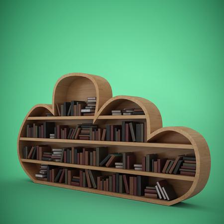bookshelf digital: Various books on cloud shape bookshelves against green vignette