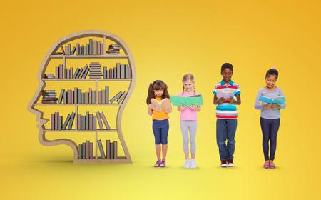 studio shots: Elementary pupils reading against yellow vignette