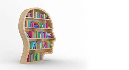 bookshelf digital: Digital image of colorful books in brown human face bookshelves against white background