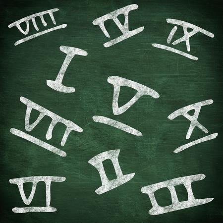 green chalkboard: Roman numbers against green chalkboard Stock Photo