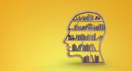 bookshelf digital: Books arranged in human face shape bookshelves against yellow vignette