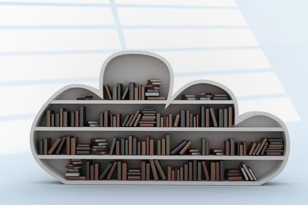 bookshelf digital: Books arranged on gray cloud shaped bookshelves against white squares on blue background