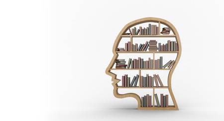 digitally generated image: Digitally generated image of books arranged in human face shape bookshelves against white background
