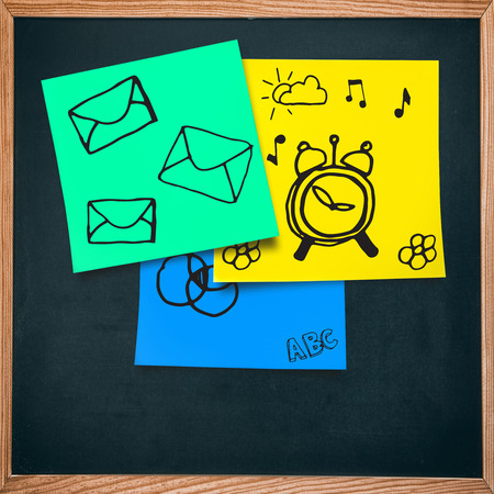 adhesive  note: Email icon against adhesive note