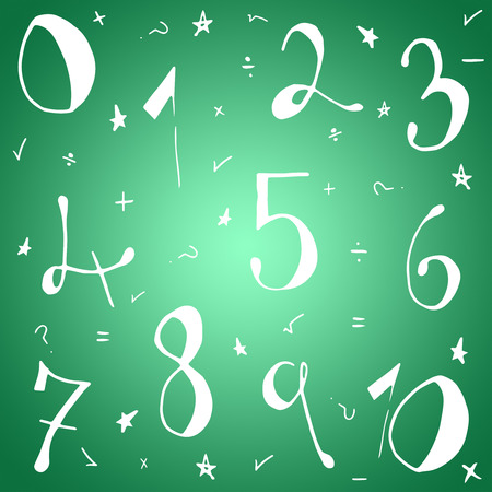 vignette: Drawn numbers against green vignette