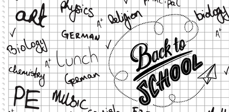 buzzwords: School buzzwords against spiral notepad