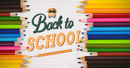 yellow notepad: Coloured pencils against back to school
