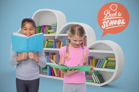 royal blue: Elementary pupils reading against royal blue