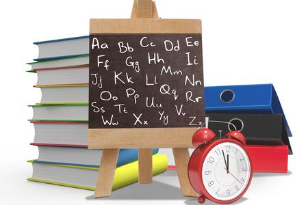 composite image: Alphabet against composite image of school stuff Stock Photo