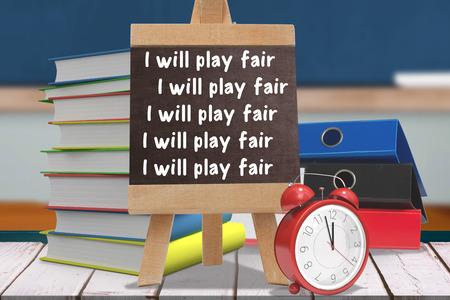 fair play: i will play fair lines against  composite image of black board Composite image of black board against wooden planks