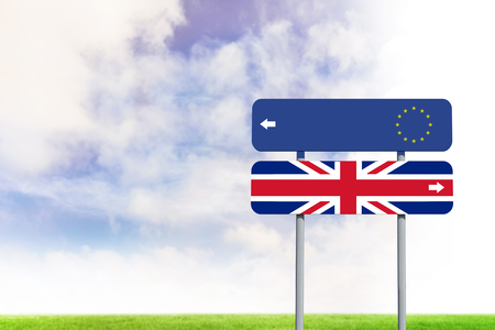 european union flag: european union flag against blue sky over green field