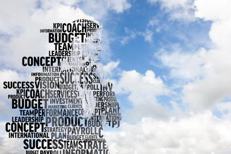 buzzwords: Businesswoman in buzzwords against blue sky with white clouds