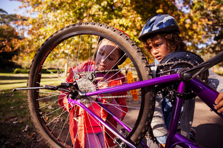 concentrated: Concentrated siblings repairing mountain bike in park Stock Photo